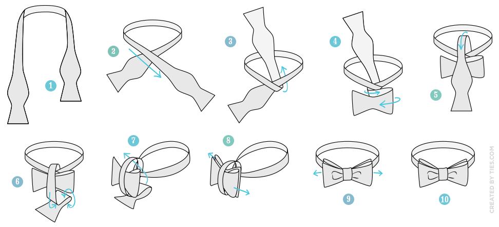 завязывать галстук-бабочка